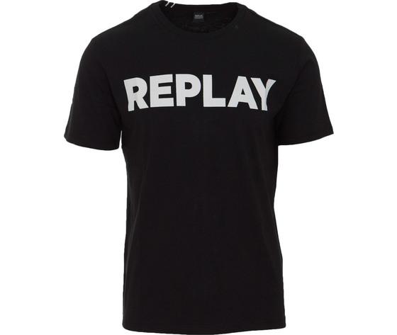 M3594 2660 098 maglietta replay nero logo bianco