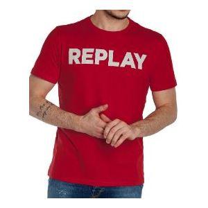 Maglietta Replay rosso logo bianco cotone art. M3594 2660 353