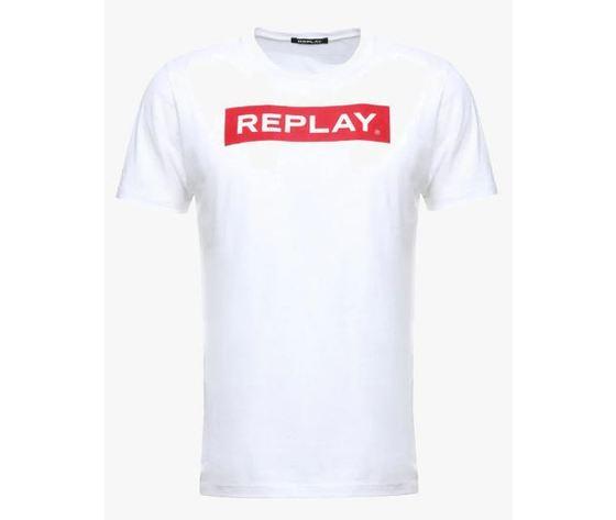 finest selection 8a9af 32ed9 Replay maglietta in cotone 100% colore bianco stampa rossa box logo  girocollo abbigliamento uomo art. M3720 2660 001