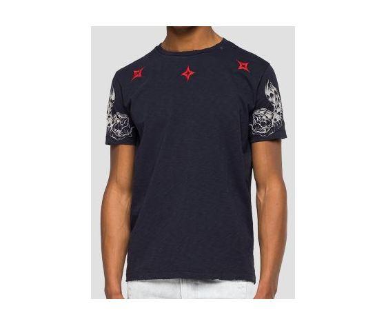M3745 22336g maglietta replay nera logo rosso fantasia