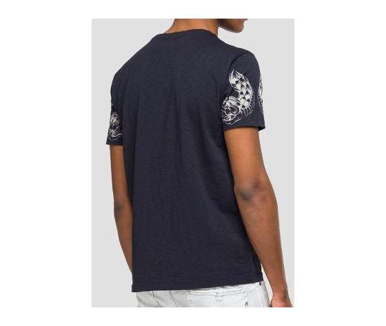 M3745 22336g maglietta replay nera logo rosso fantasia 2