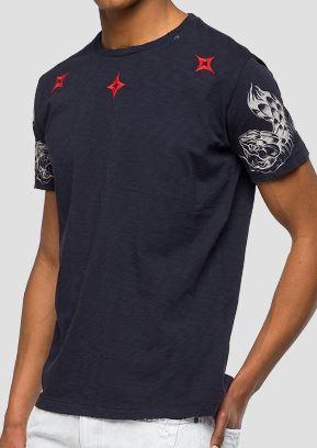 quality design c2db5 fafc0 Replay maglietta in cotone 100% colore nero stampe tribali girocollo  abbigliamento uomo art. M3745 22336G