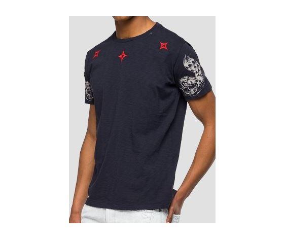 M3745 22336g maglietta replay nera logo rosso fantasia 3