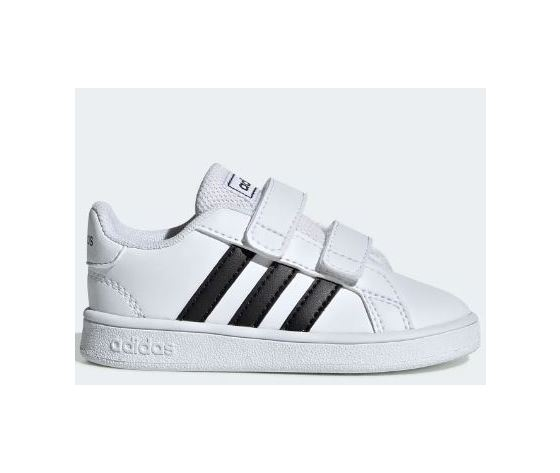 Sneakers Adidas bianco nero a strappi Grand Court bambini art. EF0118