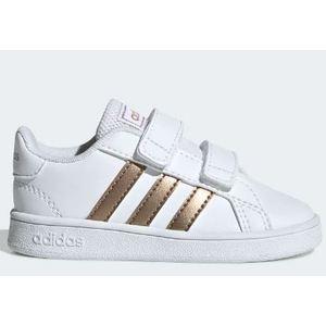 Sneakers Adidas bianco dorato a strappi Grand Court bambini art. EF0116