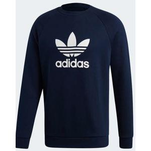Felpa Adidas blu logo bianco Trefoil Crew abbigliamento uomo art. ED5948