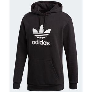 Felpa Adidas nero con cappuccio Trefoil Hoodie abbigliamento uomo art. DT7964