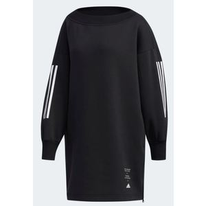 Vestito Adidas nero felpato strisce sulle maniche abbigliamento donna Tunic art. ED1413