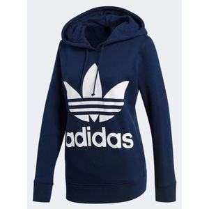 Felpa Adidas blu con cappuccio Hoodie Trefoil abbigliamento donna art. CE2410
