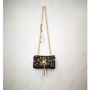 Pochette Shop Art nero oro paillettes bottone ciondolo nappa tracolla donna art. 20617 002