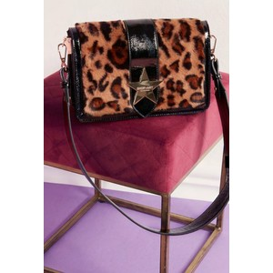 Borsa Shop Art nero animalier chiusura bottone tracolla donna art. 20620 088