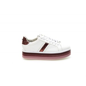 Sneakers ApePazza bianco bordeaux Iris zeppa tempo libero donna art. 9FICP01 DEGRADE
