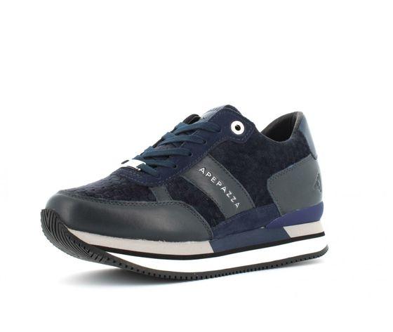 9frsd34 blu sneakers ape pazza donna blu velluto 3