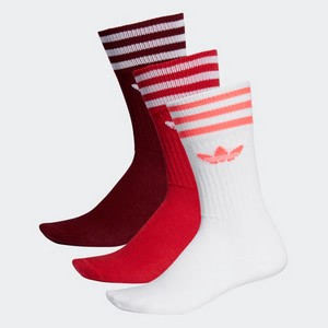 Calze Adidas Solid Crew 3 paia bianco rosso bordeaux art. ED9360