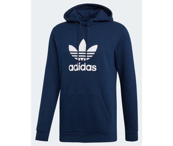 Ej9682 adidas hoodie trefoil felpa cappuccio uomo blu