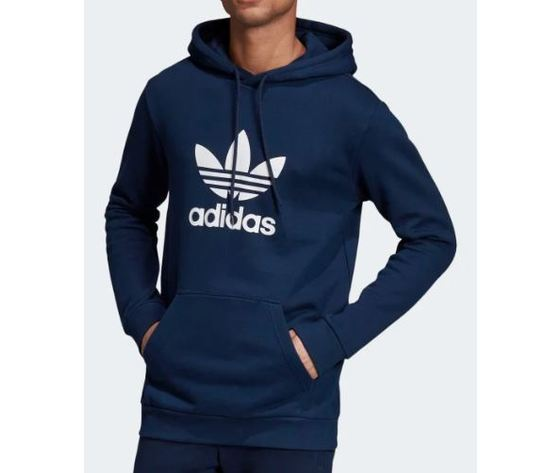Ej9682 adidas hoodie trefoil felpa cappuccio uomo blu 3