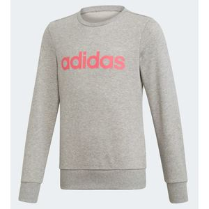 Felpa Adidas grigio logo rosa ragazzi Linear art. EH6156