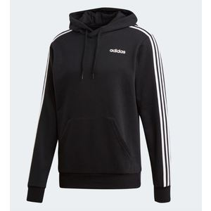 Felpa Adidas nera cappuccio 3 Stripes Essentials uomo art. DU0498