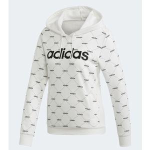 Felpa Adidas bianco cappuccio Hoodie Linear rombi donna art. EI6248