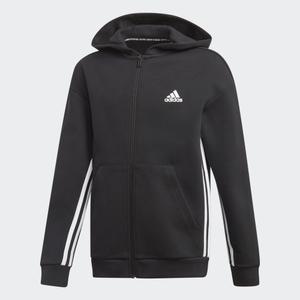Giacca Adidas nera full zip e cappuccio 3 stripes Jacket bambino art. ED6474