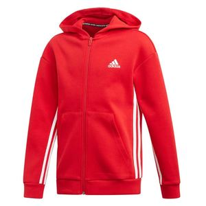 Giacca Adidas rossa full zip e cappuccio 3 stripes Jacket bambino art. ED6485