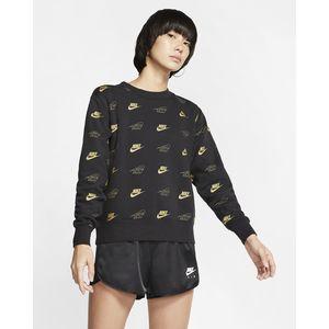 Felpa Nike a girocollo nera multi logo oro donna art. BV4994 010