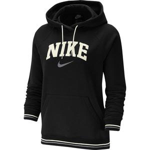 Felpa nera Nike cappuccio tasca centrale logo bianco donna art. BV3973 010