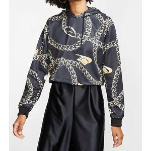 Felpa Nike nero corta con cappuccio Iconic Clash donna art. CJ6305 010