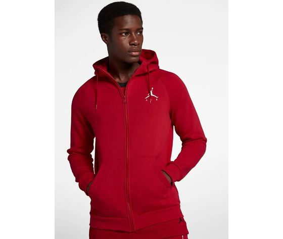 Felpa cappuccio Jordan rosso logo jumpman art. 939998 687
