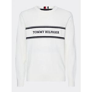 Maglione Tommy Hilfiger Rope Logo bianco con fasce e logo blu art.MW0MW13385 YBL