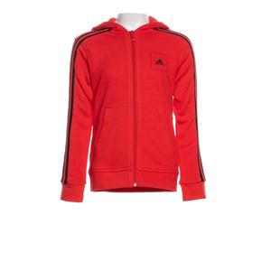 Adidas Giacca con zip Rossa Cotone Bande Nere Ragazzi art. FM4837