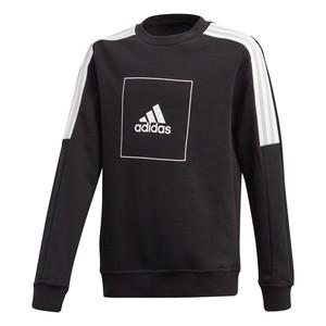 Felpa Adidas Nera stampa Logo bande bianche ragazzi art. FM4840