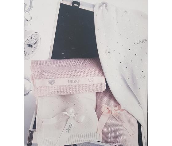 Coperta culla e carrozzino Liu Jo baby in puro cotone con cristalli Swarovski art. Zucchero