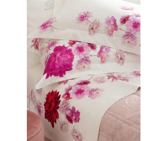 Completo Lenzuola Matrimoniale in Raso di Cotone stampato Blumarine art. Fabienne