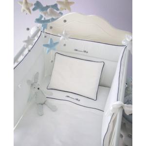 Completo Copripiumino Lettino sponde con Paracolpi Blumarine baby art. Baby Blu