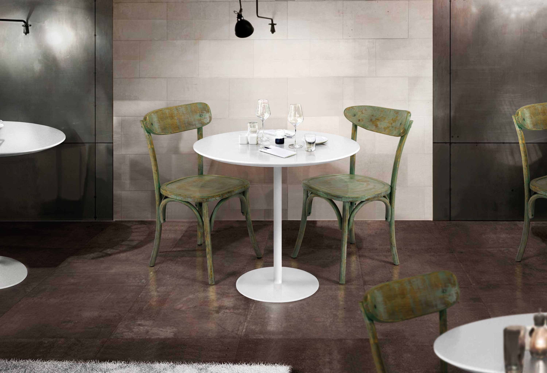 Tavolo Tondo Diametro 80.Tavolino Bar Rotondo Diametro Cm 80 H 75 In Mdf Bianco Opaco E
