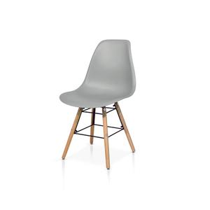 NOEMI - Sedia in PP con gambe in legno e  metallo