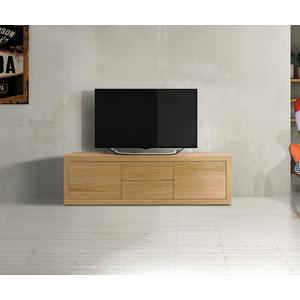 PORTA TV CM. 170X45 H. 50 CON ANTE E CASSETTI IN LAMINATO EFFETTO ROVERE