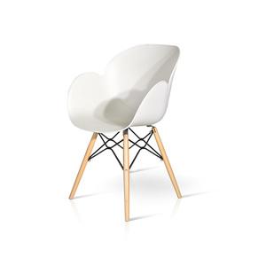 LINDA - Sedia in PP con gambe in legno e metallo