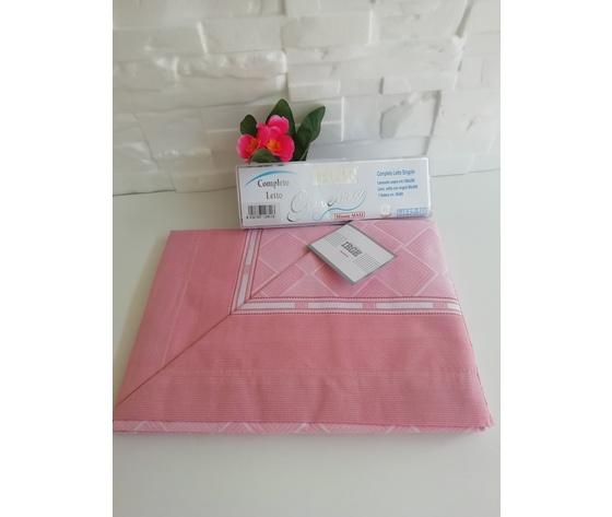 Completo letto singolo cotone rosa