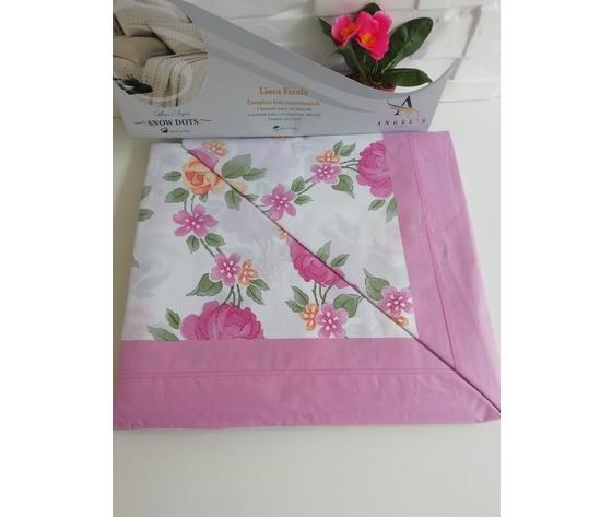 Completo letto cotone matrimoniale rosa