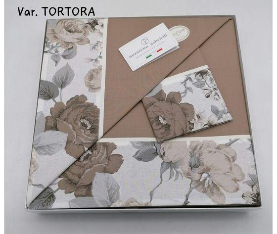 Completo Letto Matrimoniale  con Bordo Fiandra variante Tortora