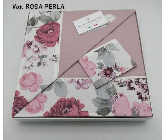 Completo Letto Matrimoniale  con Bordo Fiandra variante Rosa Perla