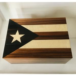 HUMIDOR PER SIGARI IN VERO LEGNO DI EBANO CON BANDIERA CUBANA! LUXURY CIGARBOX CUBAN FLAG HANDMADE IN ITALY!!