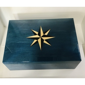 "HUMIDOR PORTASIGARI ""ROSA DEI VENTI"" IN VERO LEGNO ERABLE BLU, LUXURY CIGARBOX MADE IN ITALY!"