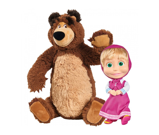 Set peluche simba orso e masha 23 e 43 cm