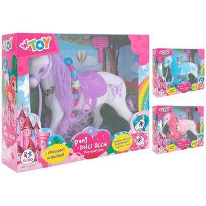 Pony bianco dalla lunga criniera rosa, da pettinare. Disponibile in 3 varianti colore