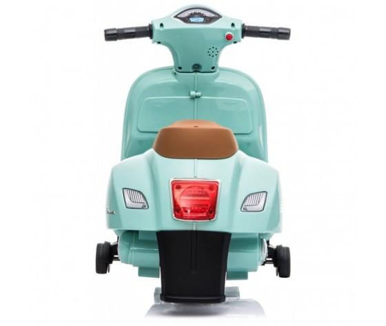 Mini vespa gts piaggio 6v con schienale sedile in pelle verde tiffany