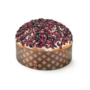 Panettone a lievitazione naturale (36 ore) con frutti di bosco, ricoperto da una cascata di cioccolato bianco ed una pioggia di frutti di bosco.  Tutti i prodotti di Petrosino Dessert sono interamente artigianali e vengono confezionati freschi.