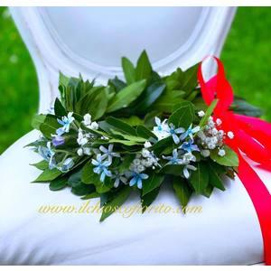 Coroncina d'alloro con fiori da 45€ a 65€
